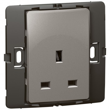 Socket outlet Mallia - unswitched - 1 gang - 13 A 250 V~ - dark silver