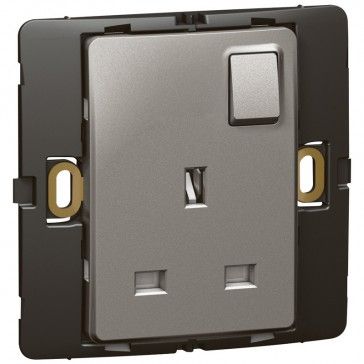 Socket outlet Mallia - switched - 1 gang - 13 A 250 V~ - dark silver