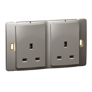 Socket outlet Mallia - unswitched - 2 gang - 13 A 250 V~ - dark silver
