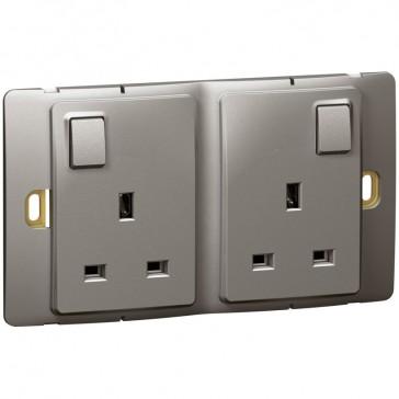 Socket outlet Mallia - switched - 2 gang - 13 A 250 V~ - dark silver