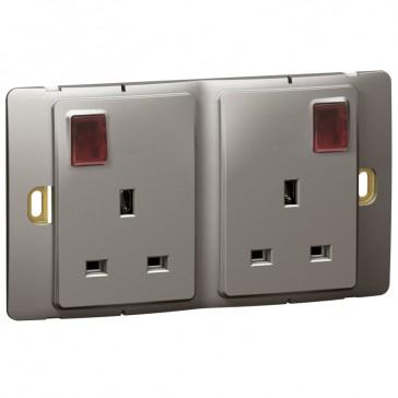 Socket outlet Mallia - switched - 2 gang+Led - 13 A 250 V~ - dark silver