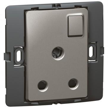Socket outlet Mallia - switched - 1 gang - 15 A 250 V~ - dark silver
