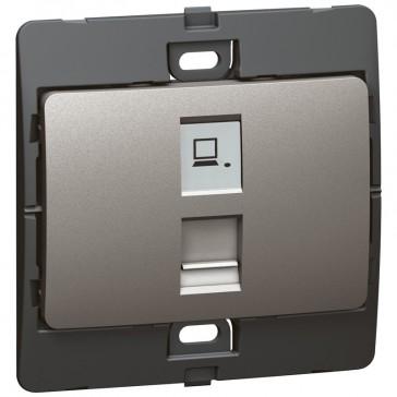 Data socket Mallia - RJ 45 - category 6 - UTP - dark silver