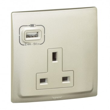 British standard socket outlet with USB charger Mallia - unswitched - 1 gang - 13 A 250 V~ - champagne