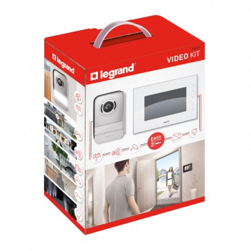 """Video door entry kit with 7"""" LCD colour display - white"""