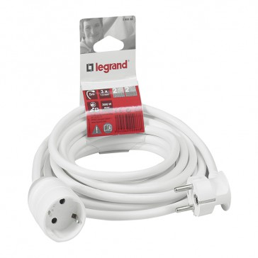 2P+E extension lead German standard - 5 m - white