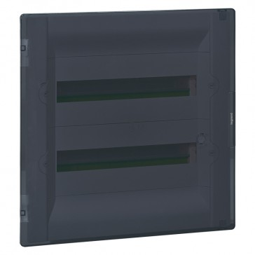 Flush-mounting cabinet Practibox³ - with earth - transparent door - 36 modules