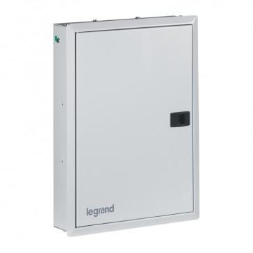 Flush-mounting box - 4 + 12 modules - 3-phase + neutral - Metal IP41 - Grey
