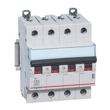 MCB TX³ 6000 - 4P 400 V~ - 63 A - C curve - prong/fork type supply busbars