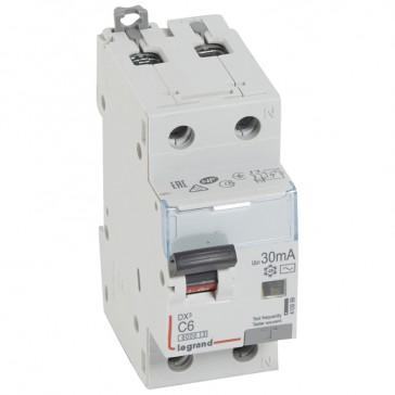 RCBO - DX³ 6000 -10 kA -1P+N-230 V~ -6 A -30 mA -AC type -N right hand