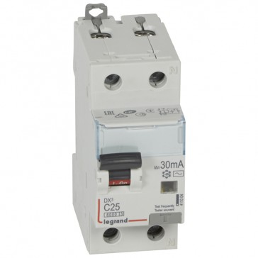 RCBO - DX³ 6000 -10 kA -1P+N-230 V~ -25 A -30 mA -AC type -N right hand