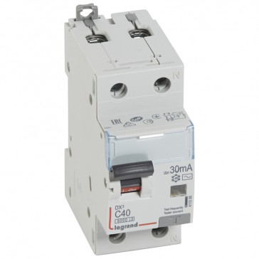 RCBO - DX³ 6000 -10 kA -1P+N-230 V~ -40 A -30 mA -AC type -N right hand