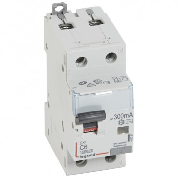 RCBO - DX³ 6000 -10 kA -1P+N-230 V~ -6 A -300 mA -AC type -N right hand