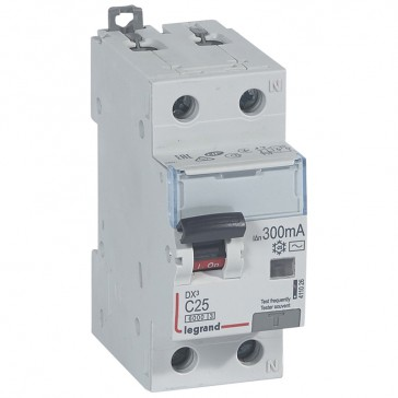 RCBO - DX³ 6000 -10 kA -1P+N-230 V~ -25 A -300 mA -AC type -N right hand