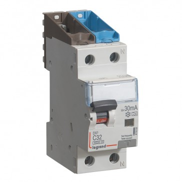 RCBO - DX³ 6000 -10 kA -1P+N-230 V~ -32 A -30 mA -A type -N right hand