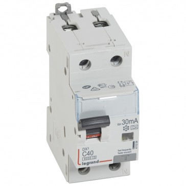 RCBO - DX³ 6000 -10 kA -1P+N-230 V~ -40 A -30 mA -A type -N right hand