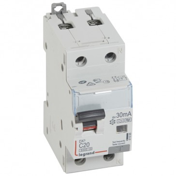 RCBO - DX³ 6000 -10 kA -1P+N-230 V~ -20 A -30 mA -Hpi type -N right hand