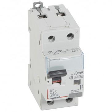 RCBO - DX³ 6000 -10 kA -1P+N-230 V~ -25 A -30 mA -Hpi type -N right hand