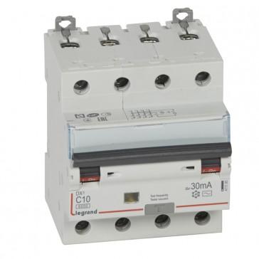RCBO - DX³ 6000 -10 kA -4P-400 V~ -10 A -30 mA -AC type