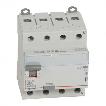 RCD DX³-ID - 4P 400 V~ neutral right hand side - 25 A - 30 mA - AC type