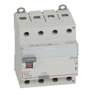 RCD DX³-ID - 4P 400 V~ neutral right hand side - 63 A - 30 mA - AC type
