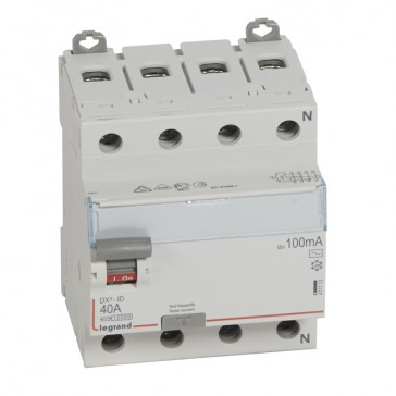 RCD DX³-ID - 4P 400 V~ neutral right hand side - 40 A - 100 mA - AC type