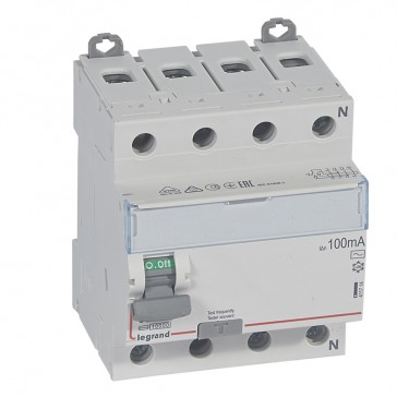 RCD DX³-ID - 4P 400 V~ neutral right hand side - 63 A - 100 mA - AC type