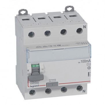 RCD DX³-ID - 4P 400 V~ neutral right hand side - 80 A - 100 mA - AC type