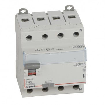 RCD DX³-ID - 4P 400 V~ neutral right hand side - 63 A - 300 mA - AC type
