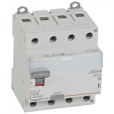 RCD DX³-ID - 4P 400 V~ neutral right hand side - 63 A-300 mA selective - AC type