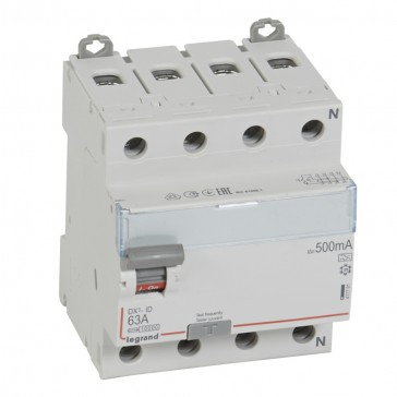 RCD DX³-ID - 4P 400 V~ neutral right hand side - 63 A - 500 mA - A type