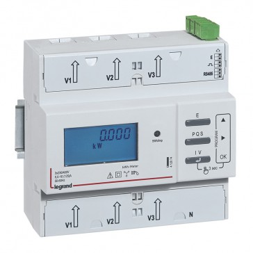 Three-phase meter EMDX³ with direct connection - non-MID - 125 A - RS485 and pulse outputs - 6 modules
