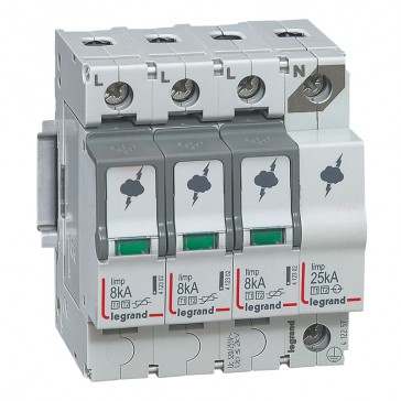 SPD - protection of main distribution board - T1+T2 - limp 8 kA/pole -3P+N right