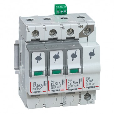 SPD -protection of main distribution board -T1+T2 -limp 12.5 kA/pole -3P+N right