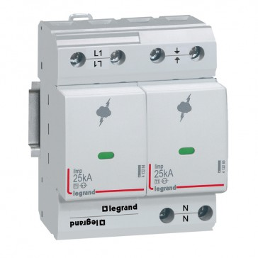 SPD - high risk level installation - T1+T2 - limp 25 kA/pole - 1P+N right
