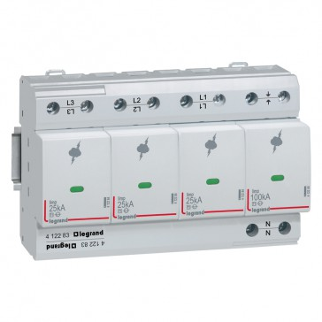 SPD - high risk level installation - T1+T2 - limp 25 kA/pole - 3P+N right