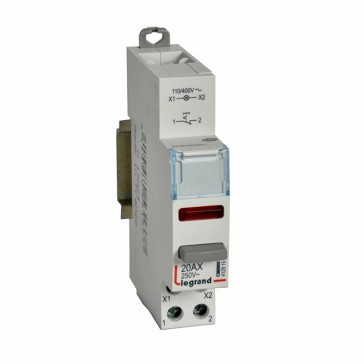 Control switch dual functions - 20 A 250 V~ - 1 NC + red indicator