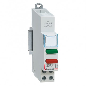 Push-button dual functions - 20 A 250 V~ - NO (green) + NC (red)