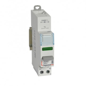 Push-button dual functions - 20 A - 100/400 V~/= - NO + green LED indicator