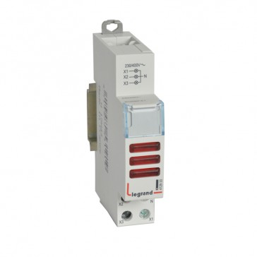 LED Indicator - triple 230/400 V~ - red - 1 module