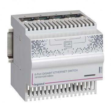 4+1 RJ45 ports ethernet switch - 1 gigabit - 4 DIN modules