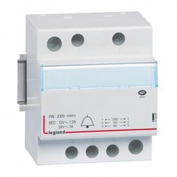Bell transformer 230 V/24 V - 12 V - 24-18 VA - 4 modules