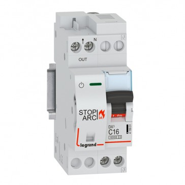 DX³ Stop Arc 6000 with bottom side supply - 1P+N on right-hand side 230 V~ - 16 A - 2 modules - C curve