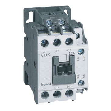 3-pole contactors CTX³ 22 - 12 A - 24 V= - 1 NO + 1 NC - screw terminals