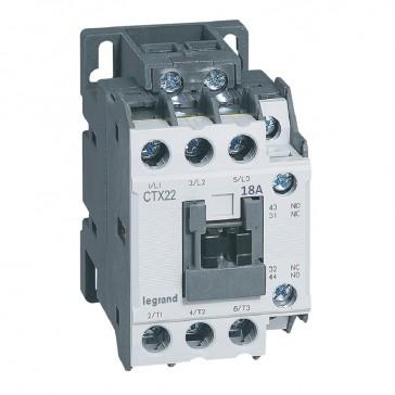 3-pole contactors CTX³ 22 - 18 A - 24 V= - 1 NO + 1 NC - screw terminals