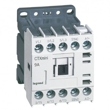3-pole mini contactors CTX³ - 9 A (AC3) - 24 V= - 1 NC - screw terminals