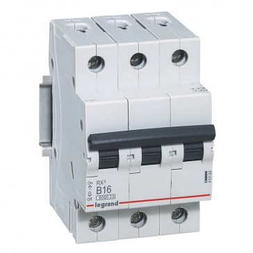 MCB RX³ 6000 - 3P 400 V~ - 16 A - B curve - prong/fork type supply busbars
