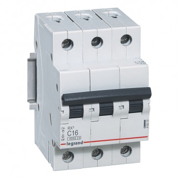 MCB RX³ 6000 - 3P 400 V~ - 16 A - C curve - prong/fork type supply busbars