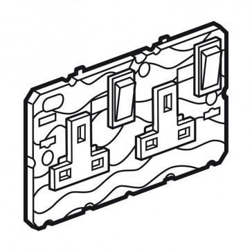 Single pole socket Arteor - BS 1363:2 - 13 A- 2P+E switched- 2-gang - white