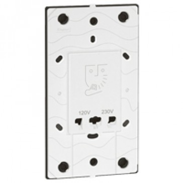 Shaver socket Arteor 230 V / 120-230 V with earth connector - 3 modules -white